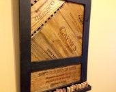 Wine Art / Wine Decor -- Reclaimed Wood Wine Wall Piece Cork Display Wine Art