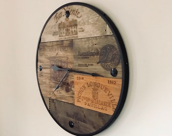 Handmade Vineyard Reclaimed Wood Barrel Wall Clock Time