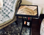 Home Bar Wine Table  -- Wine Art / Wine Decor -- Vineyard Reclaimed Wood Wine Table -- Winery Funtional Art