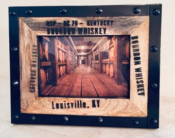 Picture Frame Bourbon Whiskey Barrel Distillery  Wood Themed 4 x 6