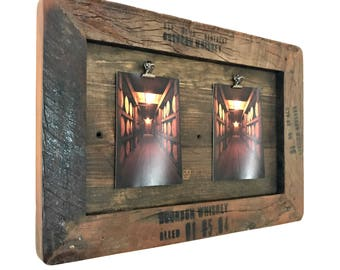 Picture Frame -- Bourbon Whiskey Decor -- Bourbon Whiskey Barrel Distillery  Wood Themed Picture Frame