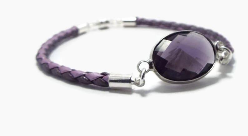 Dainty Bracelet Lavender Bracelet Leather and Crystal Minimal Leather Bracelet Purple Bracelt Leather Bracelet
