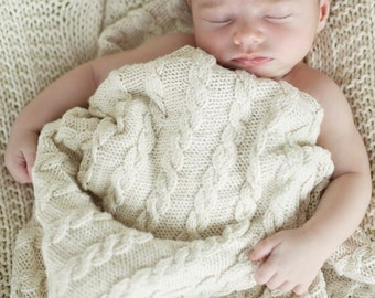 baby blanket KNITTING PATTERNS - classic cable blanket
