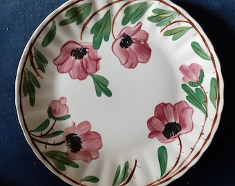 On Sale Set of 2 Ruffled Blue Ridge Pottery 9.10 inch Luncheon or Dinner Plates with Pink and Purple Flowers and Highlights