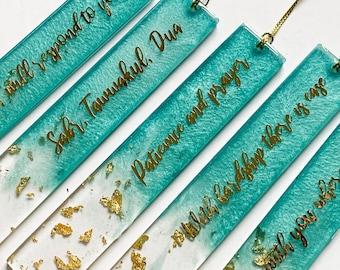 Islamic Resin Bookmarks, gold, blue turquoise (sabr, tawwakul, dua, patience and prayer, alhamdulillah, bismillah)