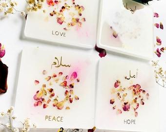 Arabic Coaster Set, Love coasters, white and gold, rose petals, faith, peace, hope, islamic resin coaster art