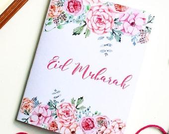 eid mubarak card, flowers, floral, vintage, watercolor, pink flowery