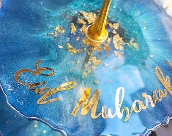 blue and gold islamic decor tray, 3 Tier Resin Tray, Ramadan Decor, Eid decorations, Eid Serving tray, Eid platter