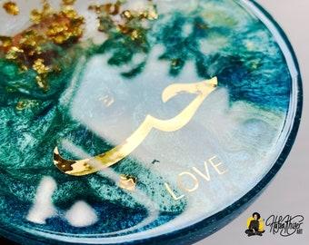 Arabic Coaster Set, Love, faith, peace, hope, islamic resin coaster art, turquoise, blue, teal, green, gold
