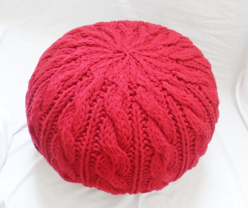 Made to Order Nursery Pouf Cable and Rib Knit Pouf Ottoman Pouf Shell Knit Pouf Shell