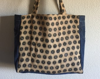 Handcrafted Recycled Jean + Burlap Tote Bag - Extra-Large - Polka Dot Alphabet Print