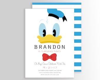 Modern Donald Duck Invitation Birthday Party Cartoon Personalized Printable