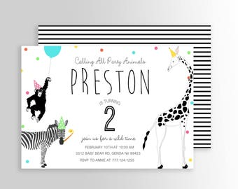 Modern Simple Party Animal Invitation Wild Zoo Safari Birthday Petting Printable Boy