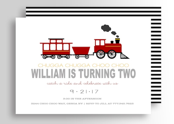 Modern Train Birthday Invitation