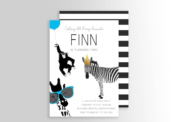 Modern Simple Party Animal Invitation Wild Animal Party Zoo Etsy