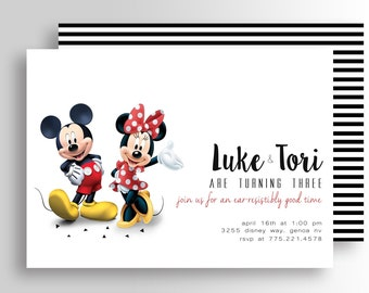 Modern Mickey Mouse and Minnie Mouse TWIN Birthday Invitations, Mickey and Minnie Invitations