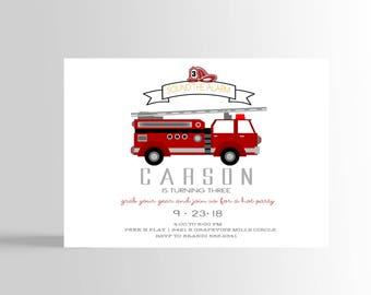 Modern Firefighter Invitation, Fire fighter Birthday Party, Fireman Invitation, Firetruck Birthday Invitation, DIGITAL