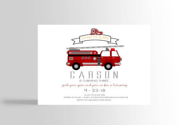 Nowoczesne Zaproszenia Strażak Fire Fighter Urodziny Etsy