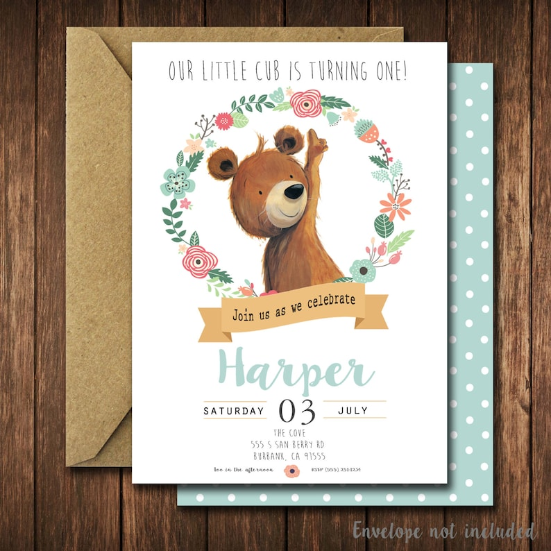 Modern Bear Birthday Party Invitations Floral Cub Little Woodland Invites
