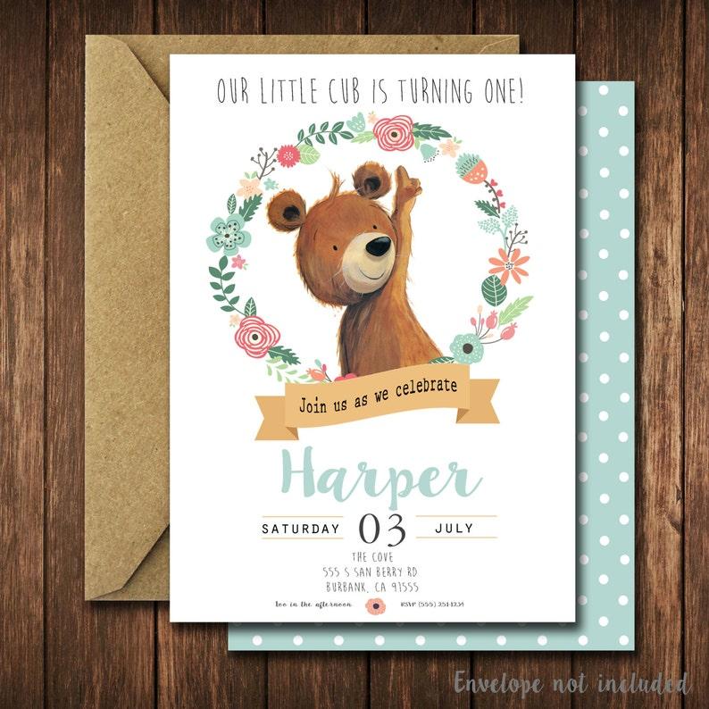 Modern Bear Birthday Party Invitations Floral Bear Cub Little Woodland Birthday Party Invites