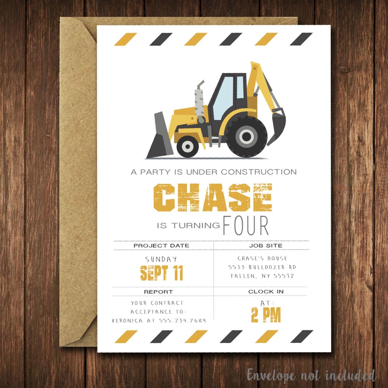 Modern Construction Birthday Invitation Bulldozer | Etsy