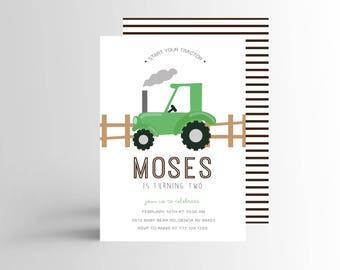 Simple Tractor Invitation, Tractor Birthday Invitation, Modern Invite, Farm Party Invitation, Green Tractor Invitation