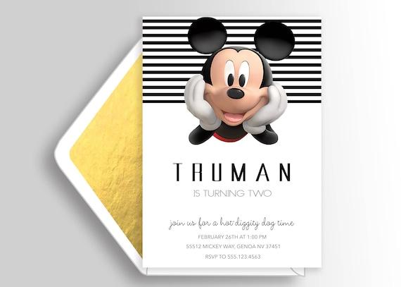 Zaproszenie Nowoczesnej Myszki Miki Urodziny Mickey Vingage Etsy