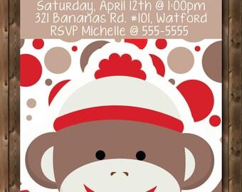 Personalized Bithday Invitation - BOY - SOCK MONKEY - Red - Dots - 4x6 or 5x7