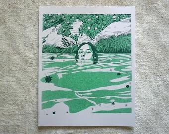 Swamp Teen - Risograph Handmade Small Art Print - Wall Decor - Unframed