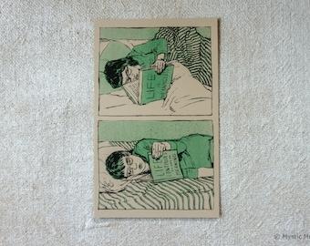 Morose Reads - Small Risograph Art Print