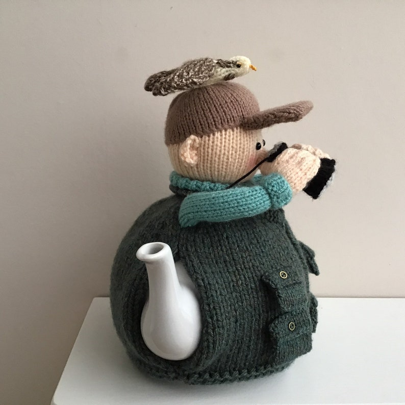 Bird watcher cosy to fit a 2.5 pint teapot Twitcher tea cosy Can be made to fit any size tea pot just ask. knitted tea cosy