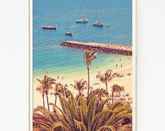 Beach Wall Decor Print Poster Tropical Palm Trees Sand Marine Retro Vintage Colour Photo Nature Sea Minimalist Blue Sky Leaf Sun Boat 1029