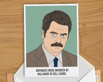 Ron Swanson Birthday Card Printable Funny Greeting Card Parks