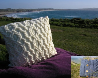 Knitting pattern for two cabled cushion covers in aran yarn