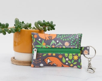"""Vegan Leather Coin Purse / Leather Earphone Case In """"Foxes"""" / Small Zipper Keychain Pouch / Keyring Change Holder / Animal Fox Pattern Print"""