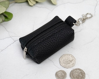 Genuine Leather Boxy Coin Purse / Leather Earphone Case / Small Zipper Keychain Pouch / Keyring Change Holder / Unisex Leather Gifts