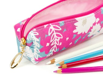 Slim Bag // Pencil Case In Exclusive Fabric 'Waves' // Pencil Holder // Make Up Bag // Make Up Brush Holder // Floral Print // Stationary