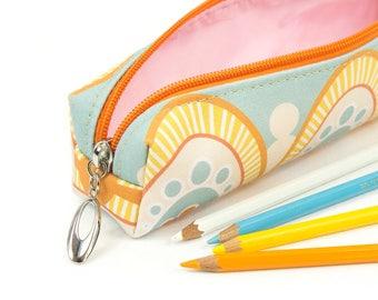 Slim Bag // Pencil Case In Exclusive Fabric 'Honey' // Pencil Holder // Make Up Bag // Make Up Brush Holder // Geometric Print // Art Deco