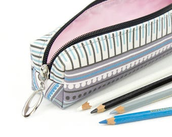 Slim Bag // Pencil Case In Exclusive Fabric 'Eco' // Pencil Holder // Make Up Bag // Make Up Brush Holder // Geometric Print // Art Deco