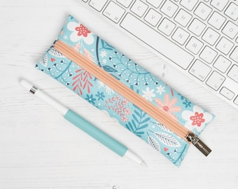 """Vegan Leather Pencil Case / Make Up Brush Holder In """"Flora"""" / Slim Cosmetic Bag / Zipped Synthetic Leather Pouch / Floral Pattern Print"""