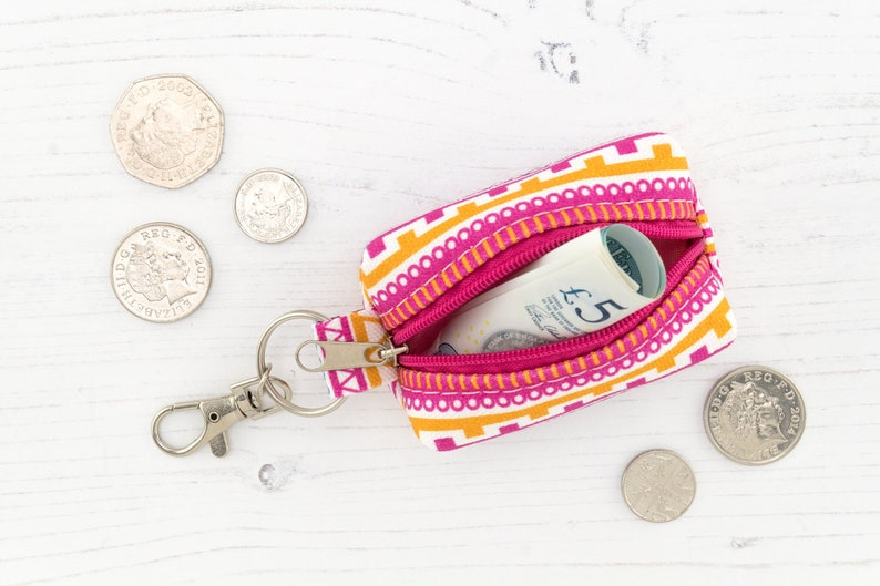 Candy Crush Coin Purse Key Ring Pouch  Small Earphone Case   Boxy Zipper Purse Tampon Holder In Exclusive Fabric