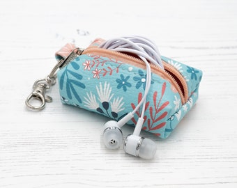 """Vegan Leather Boxy Coin Purse / Leather Earphone Case In """"Flora"""" / Small Zipper Keychain Pouch / Keyring Coin Purse / Floral Pattern Print"""
