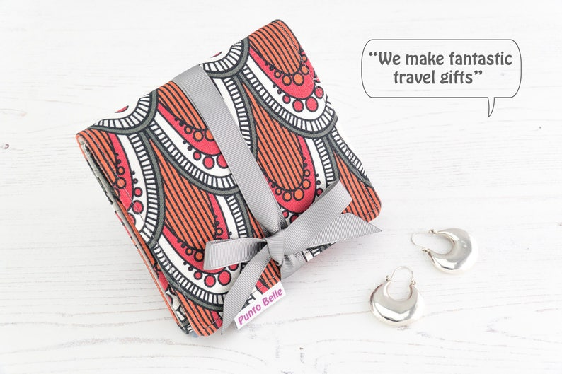Mini Travel Jewellery Organiser Roll  Travel Gift Ideas Gifts For Women  Vegan Jewellery Case In Exclusive Fabric Berry