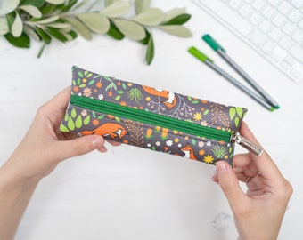 """Vegan Leather Pencil Case / Make Up Brush Holder In """"Foxes"""" / Slim Cosmetic Bag / Zipped Synthetic Leather Pouch / Fox Animal Pattern Print"""