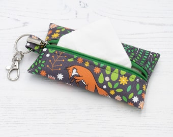 """Vegan Leather Pocket Tissue Case With Zip / Leather Zipper Pouch """"Foxes"""" / Vegan Leather Coin Purse / Mask Case Holder / Fox animal Print"""