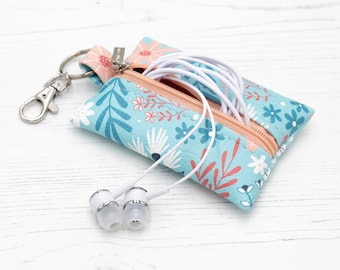 """Vegan Leather Keyring Coin Purse / Leather Earphone Case In """"Flora"""" / Small Zipper Keychain Pouch / Change Holder / Floral Pattern"""