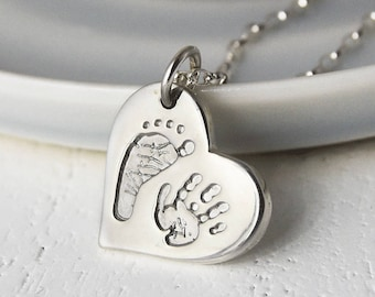 Silver Handprint & Footprint Heart Charm Necklace | Personalised Gift for Her | Handprint Jewellery | Free UK Delivery | Hold upon Heart