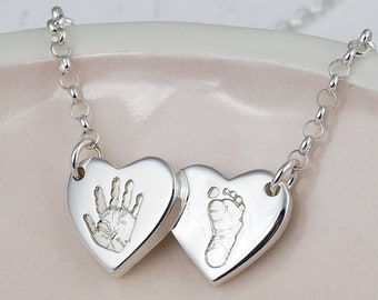 Silver Handprint and Footprint Double Heart Necklace | Personalised Gift for Her | Fingerprint Jewellery | Hold upon Heart