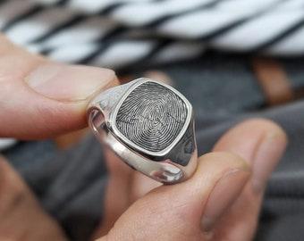 Memorial Ring Custom Personalized Heart Finger Print Personalized fingerprint Signet Ring 13mm Round 925 Sterling Silver Signet Ring
