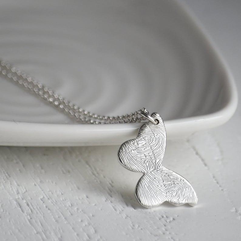 Silber Fingerabdruck Schmetterling Halskette Personalisierte Etsy